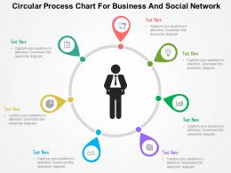 Circular Process Chart For Business And Social Network Flat Powerpoint Design