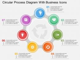 Circular Process Diagram With Business Icons Flat Powerpoint Design