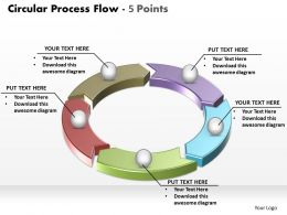 circular process flow 5 points powerpoint diagram templates graphics 712