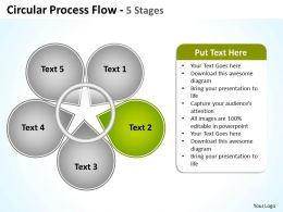 circular process flow 5 stages shown by petals of flower powerpoint templates 0712