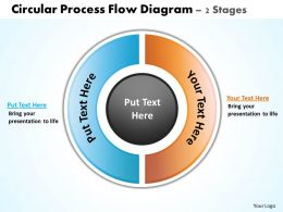 circular process flow diagram 2 stages powerpoint diagrams presentation slides graphics 0912