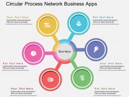 Circular Process Network Business Apps Flat Powerpoint Design