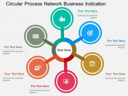 Circular Process Network Business Indication Flat Powerpoint Design