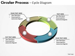 circular process flow pieces interconnected cycle diagram 4 stages ppt slides diagrams templates powerpoint info graphics