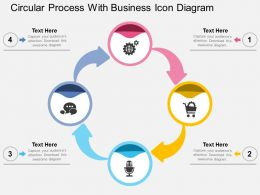 Circular Process With Business Icon Diagram Flat Powerpoint Design