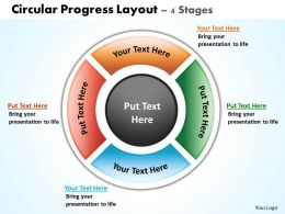 circular progress layout 4 stages powerpoint diagrams presentation slides graphics 0912
