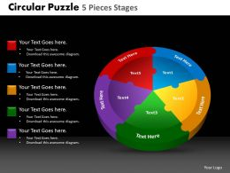 Circular Puzzle 5 Pieces Stages Powerpoint Slides And Ppt Templates DB