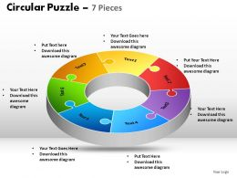 Circular Puzzle 7 Pieces Powerpoint Slides