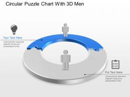 Circular Puzzle Chart With 3d Men Powerpoint Template Slide