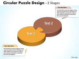 circular puzzle design 2 stages powerpoint templates 0712