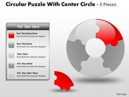 Circular Puzzle diagram 5 Pieces ppt 14