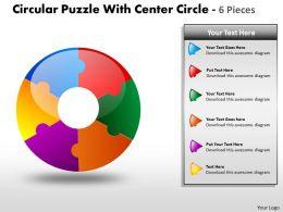 Circular Puzzle diagram 6 Pieces PPT 12