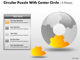Circular Puzzle diagram Circle 5 Pieces ppt 16