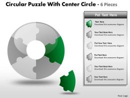 Circular Puzzle diagram Circle 6 Pieces PPT 14