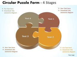 circular puzzle form 4 stages powerpoint templates 0712