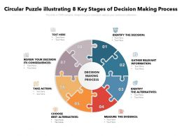 Circular Puzzle Illustrating 8 Key Stages Of Decision Making Process