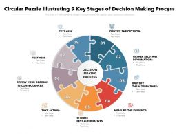 Circular Puzzle Illustrating 9 Key Stages Of Decision Making Process