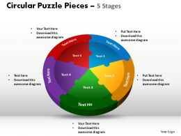 Circular Puzzle Pieces 5 Stages Powerpoint Slides