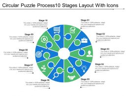 Circular Puzzle Process10 Stages Layout With Icons