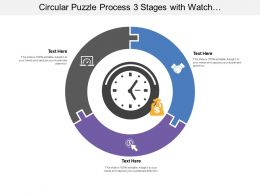 Circular Puzzle Process 03 Stages With Watch And Money Icon