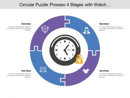 Circular Puzzle Process 04 Stages With Watch And Money Icon