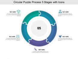 Circular Puzzle Process 05 Stages With Icons