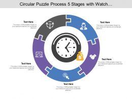 Circular Puzzle Process 05 Stages With Watch And Money Icon