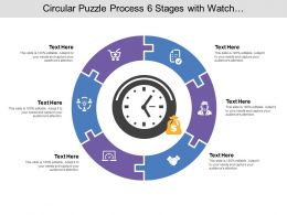 Circular Puzzle Process 06 Stages With Watch And Money Icon