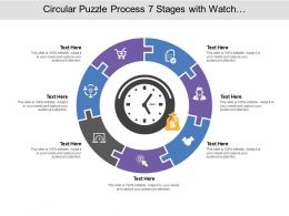 Circular Puzzle Process 07 Stages With Watch And Money Icon