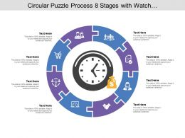Circular Puzzle Process 08 Stages With Watch And Money Icon