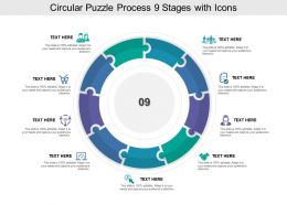 Circular Puzzle Process 09 Stages With Icons