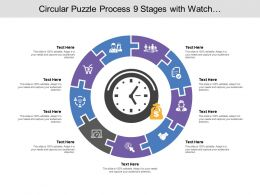Circular Puzzle Process 09 Stages With Watch And Money Icon
