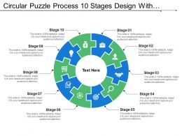 Circular Puzzle Process 10 Stages Design With Symbols