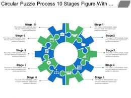 Circular Puzzle Process 10 Stages Figure With Gears