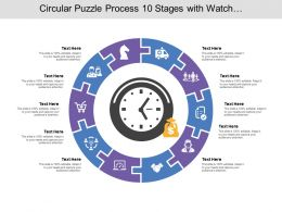 Circular Puzzle Process 10 Stages With Watch And Money Icon
