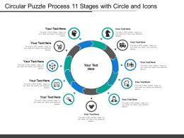 Circular Puzzle Process 11 Stages With Circle And Icons