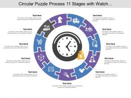 Circular Puzzle Process 11 Stages With Watch And Money Icon