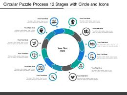 Circular Puzzle Process 12 Stages With Circle And Icons