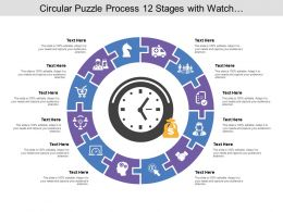 Circular Puzzle Process 12 Stages With Watch And Money Icon
