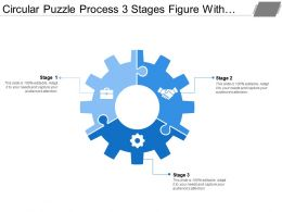 Circular Puzzle Process 3 Stages Figure With Gears