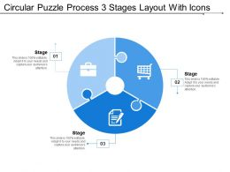 Circular Puzzle Process 3 Stages Layout With Icons