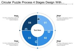 Circular Puzzle Process 4 Stages Design With Numbers