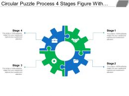 Circular Puzzle Process 4 Stages Figure With Gears