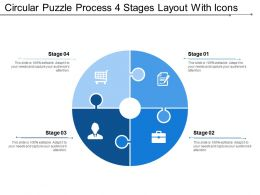 Circular Puzzle Process 4 Stages Layout With Icons