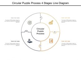 Circular Puzzle Process 4 Stages Line Diagram