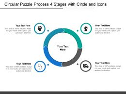 Circular Puzzle Process 4 Stages With Circle And Icons