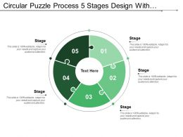 Circular Puzzle Process 5 Stages Design With Numbers