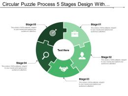 Circular Puzzle Process 5 Stages Design With Symbols