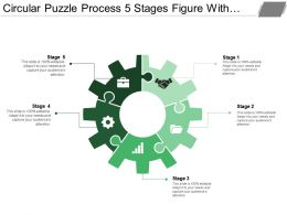Circular Puzzle Process 5 Stages Figure With Gears