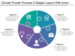 Circular Puzzle Process 5 Stages Layout With Icons